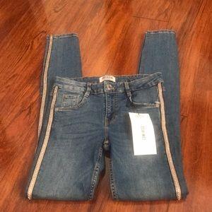 Zara Low Rise Skinny Jeans with Rhinestones Stripe